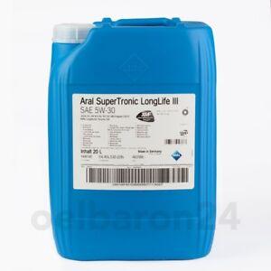 ARAL-Super-Tronic-SAE-5W-30-20-L-Liter-Longlife-3-III-VW-507-00-MB-229-51-Audi
