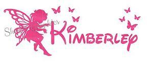 Custom-Personalised-Name-Fairy-amp-Butterflies-Wall-Art-Vinyl-Sticker-Decal