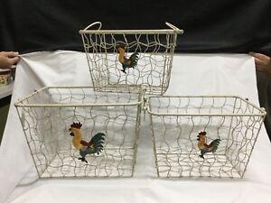 Decorative Chicken Wire Nesting Storage Baskets, Set Of Three