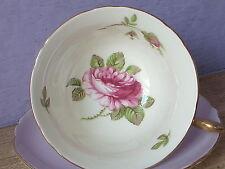 Vintage 1940's Shelley Fine Bone China English pink rose tea cup, purple tea cup