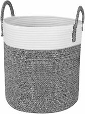 """off white 15/""""x10/"""",large cotton rope storage baskets with handles"""