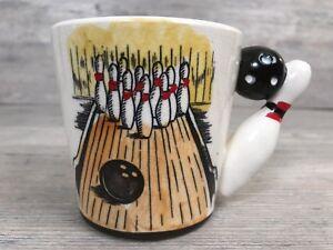 Vintage-Hand-Painted-Bowling-Cup-Mug-Ball-Pin-3D-Handle-Japan-Mid-Century