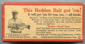Vintage-Heddon-Dowagiac-Fishing-Lure-Plug-Bait-RARE-Box-Wounded-Spook