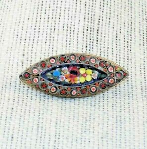 Antique-Art-Deco-Italian-Murano-Micro-Mosaic-Glass-MILLEFIORI-Bar-Brooch-Italy