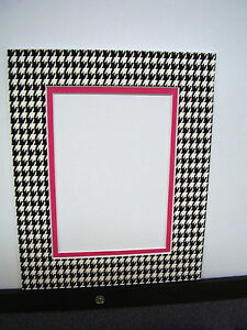 Picture Frame Double Mat 11x14 For 8x10 Photo Houndstooth