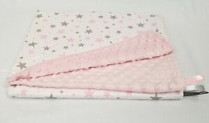 MINKY FABRIC grey pink stars XXL LARGE PLUSH  BLANKET BABY SOFT PATTERN COTTON