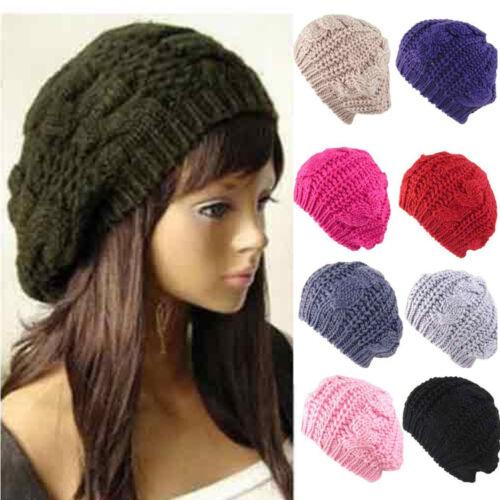 Fashion Women/'s Lady Beret tressé Baggy Beanie Crochet Chaud Hiver Chapeau Ski Capuchon