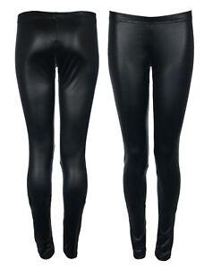 c1966c5e4c2edc Womens WetLook PVC Shiny Black Legging Ladies Faux Leather Full ...