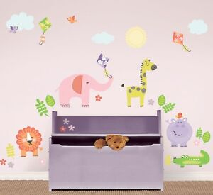 SUNNY-DAY-SAFARI-WALL-DECALS-Animals-Elephant-Giraffe-Lion-Room-Decor-Stickers