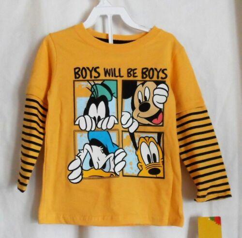 BOYS TODDLER YELLOW MICKEY MOUSE BOYS WILL BE BOYS L//S SHIRT NWT ~ DISNEY