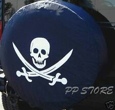 """NEW SPARE TIRE COVER 26.5""""-28.5"""" 15R Pirate Skull & Crosswords MS1007G R15"""