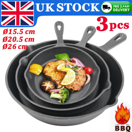 3PCS Cast Iron Pan Set Non-stick Frying Griddle Pan BBQ Grill Fry Skillets Round