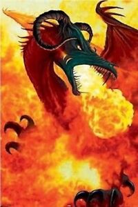RENE BIERTEMPFEL ~ DRAGON VOLCANO AND FAIRY ~ 24x36 FANTASY ART POSTER