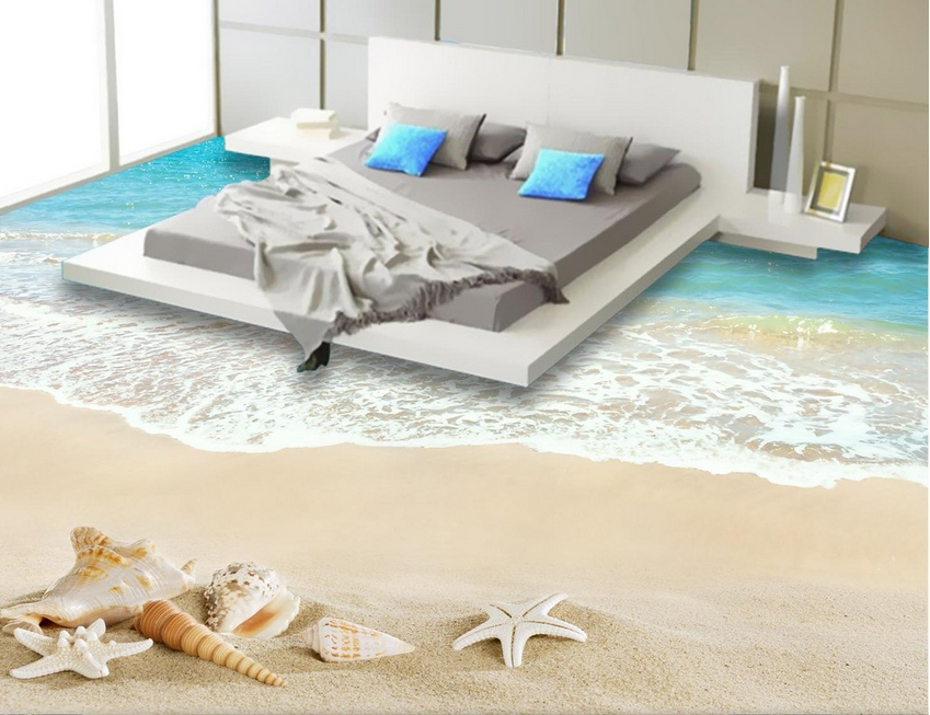 3D Shells Beach 421 Floor WallPaper Murals Wall Print 5D AJ WALLPAPER UK Lemon