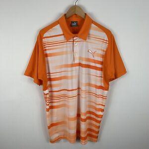 Puma-Mens-Golf-Shirt-Polo-Size-Large-Orange-White-Short-Sleeve