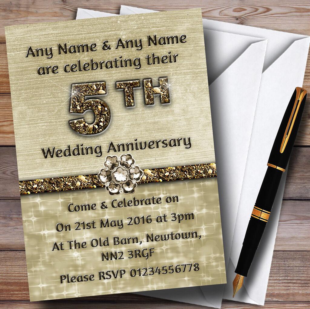 TITANIUM BRILLANT GOLD BRILLANT TITANIUM 5 invitations personnalisées Fête Anniversaire 996048