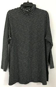 NEW-J-JILL-L-L-S-Turtleneck-Tunic-Knit-Top-Cotton-Modal-Sx-Stripes-Black
