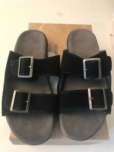 J-41-Black-Suede-Slip-On-Sandal-Slides-Shoe-Womens-7