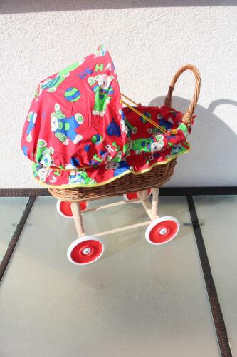 Puppen & Zubehör Geschenk Weidenkorb Spielzeug Puppenwagen Kinderwagen mit Decke und Kissen