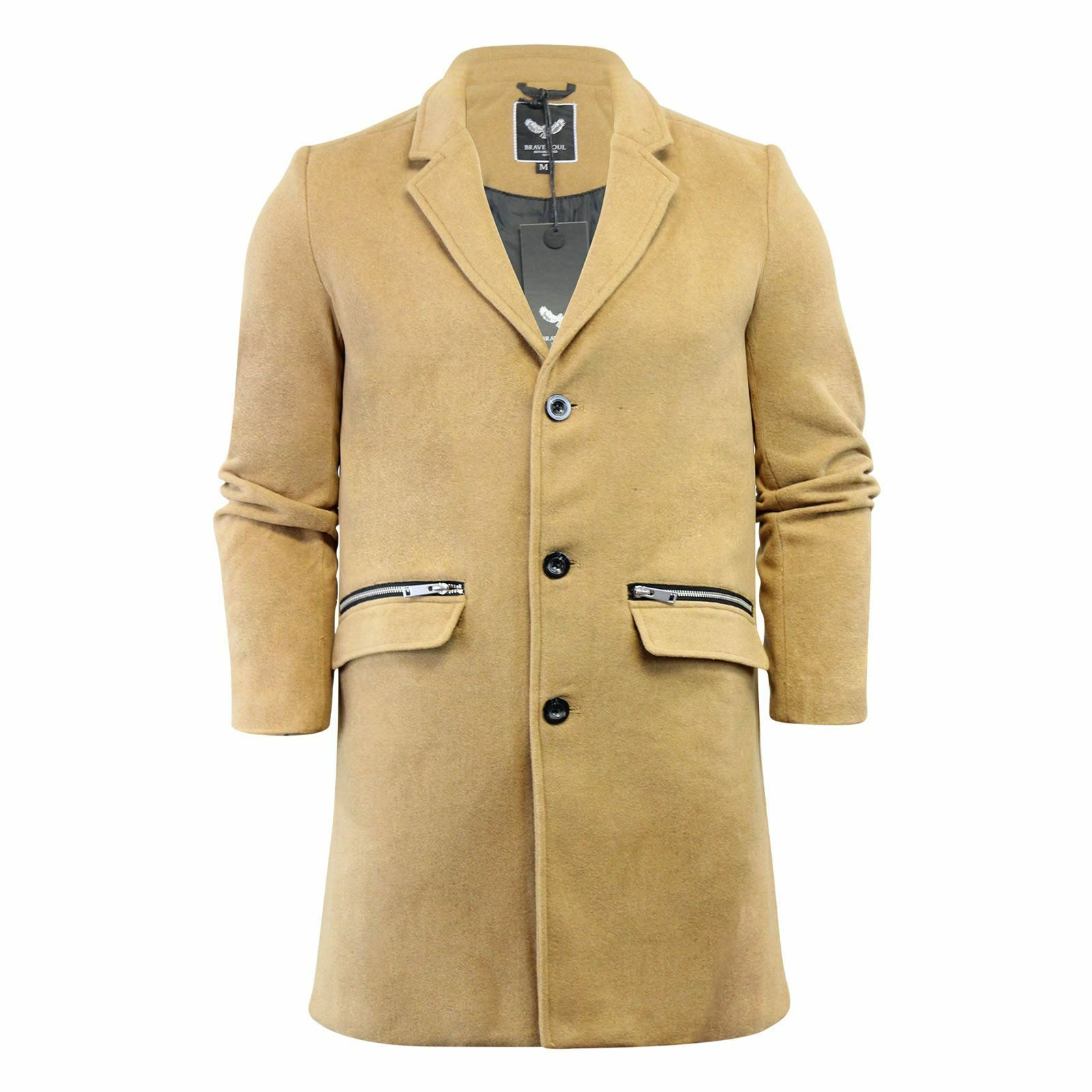 Cappotto da Uomo Giacca Brave Brave Brave Soul Mill lungo cappotto lana mix 6e618f