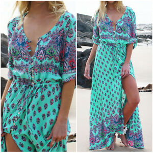 5a7b50740b03d Women Summer Plus Size Boho Floral Sundress Holiday Beach Party Long ...
