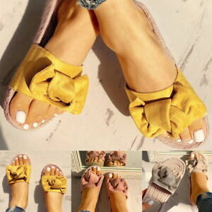 New-Womans-Slip-On-Bow-Flatform-Mule-Summer-Sandals-Comfy-Shoes-Sizes