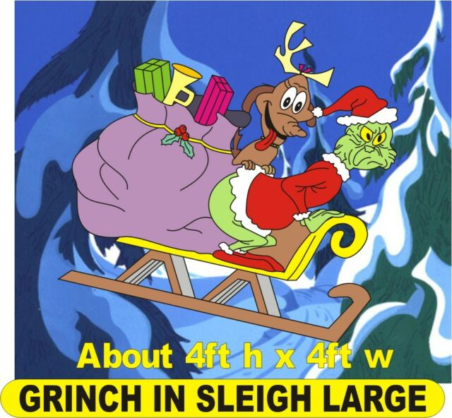 Grinch In Sleigh Stealing Presents Large Christmas Yard Art Pattern Awesome Grinch Wood Patterns