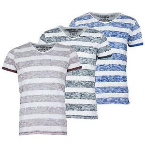 KEY-LARGO-Herren-T-Shirt-Inside-Out-V-Ausschnitt-Rollsaum-Streifen-gestreift