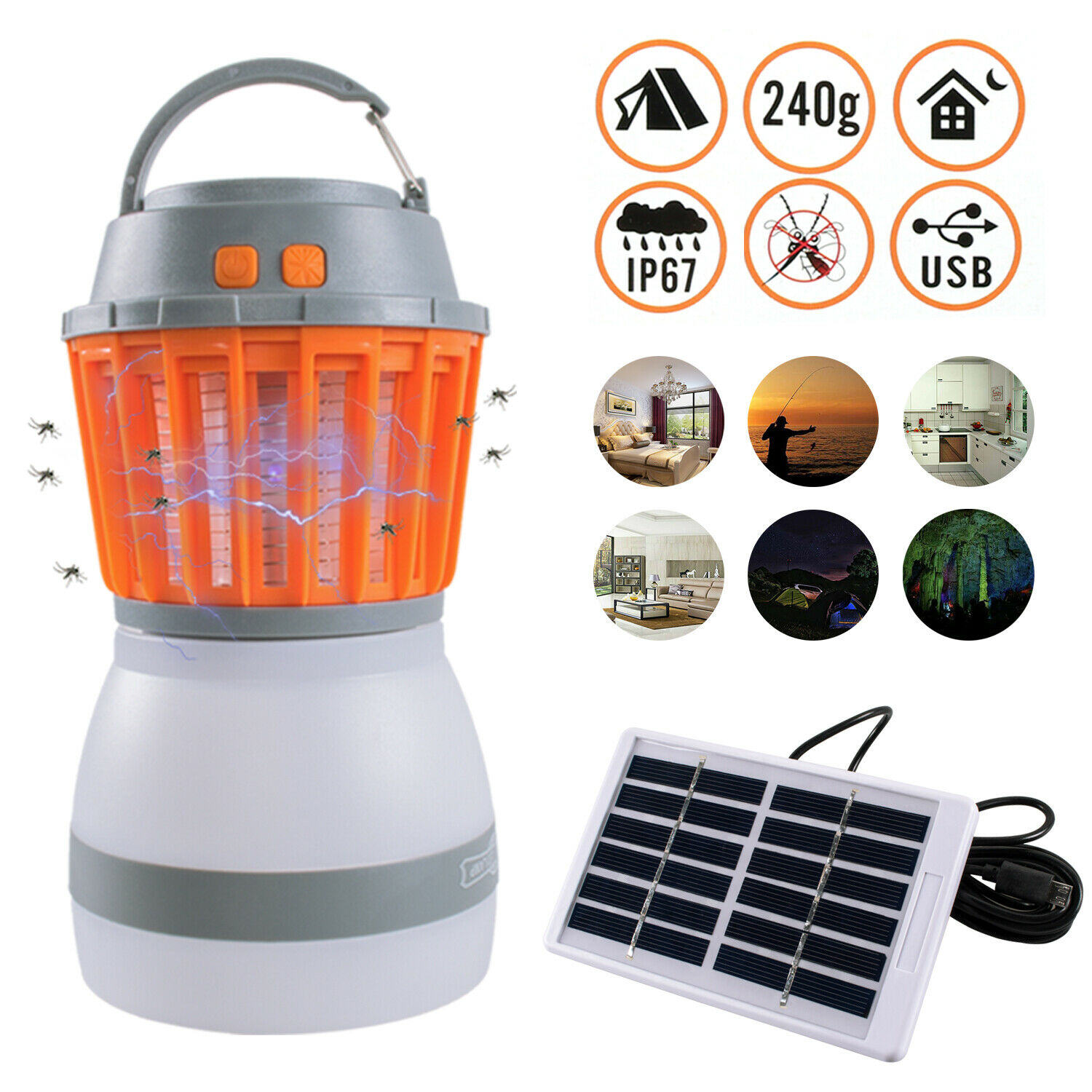 Portable Solar Mosquito Killer Lamp Electric Fly Bug Zapper Insect Light Camping