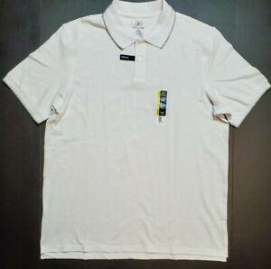 Mens-George-No-Roll-Collar-Stretch-Pique-Polo-Shirt-XS-S-L-XL-XXL-XXXL-White-NWT