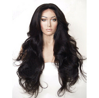 """24"""" Fashion Long Wavy Black Color Lace Front Wig Heat Resistant Synthetic Hair"""