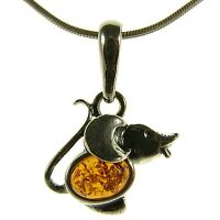 Orange Baltic Amber Sterling Silver 925 Mouse Animal Pendant Jewellery Jewelry