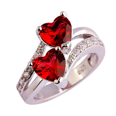 Heart-shaped Ruby Spinel & White Topaz Gemstone Silver Ring Sz 6 7 8 9 10 11 12