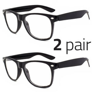 2-Pair-Men-Women-Clear-Lens-Nerd-Retro-Unisex-Glasses-Fashion-Eyewear