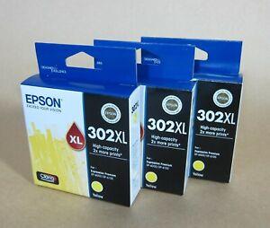 [1310*] THREE (3x) EPSON 302XL YELLOW INKS ( RRP>$105 )