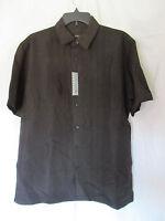 Men's Van Heusen Black Hawaiian Style Button Down Shirt Multiple Sizes