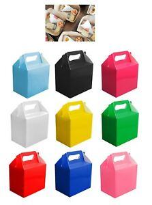 10-Childrens-Kids-Party-Lunch-Boxes-Colour-Birthday-Wedding-Meal-Food-Loot-Bag