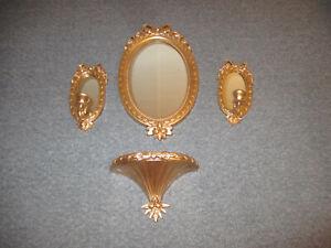 Vintage-Home-Interiors-Gold-Oval-Wall-Mirror-Set-w-2-Sconces-amp-Shelf-USA