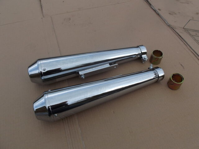 HONDA CB250K4 CB350K4 MEGPHONE SHORTY CAFE RACER UNIVERSAL SILENCERS EXHAUST  8