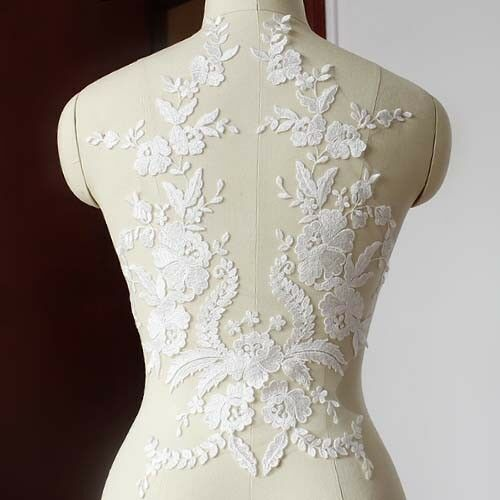 Delicate Bridal Gown Bodice Lace Applique beaded Embroidery Flower Patch
