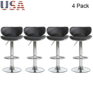 Set Of 4 Bar Stools Counter Dining Swivel Adjustable PU Leather Pub Chair Black