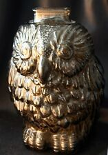 Vintage Wise Old Owl Topaz Amber Glass Coin Bank Libbey