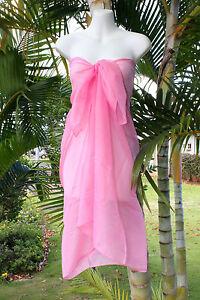 6377dd1bec5f8 Sheer Sarong SOLID PINK Beach Cover-up Hawaii Vacation Bikini Wrap ...