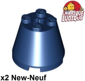 Lego-2x-Cone-3x3x2-axle-hole-axe-bleu-fonce-dark-blue-6233-NEUF