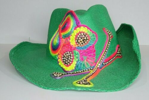 Olive & Pique Lime Green  Cowboy Hat with Rainbow