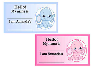 20 Blue Elephant Pink Elephant Baby Shower Name Tags Ebay