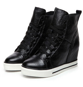 Women-039-s-Ankle-Boots-Lace-Up-Hidden-Wedge-Heels-Lace-Up-Casual-Sneakers-Shoes