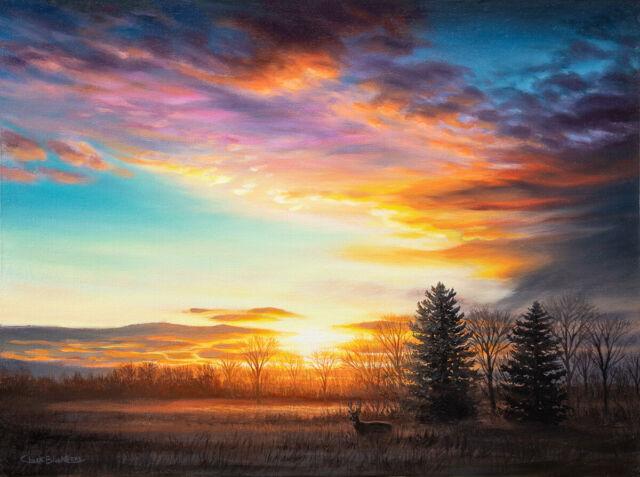 Original Oil Painting, FRAMED, Sunset Landscape, Deer, Signed by Chuck Black