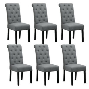 6 Grey Dining Chairs Fabric High Back