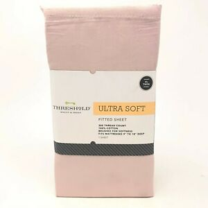 Threshold Ultra Soft Pink Petal XL/Twin Fitted Sheet 300 Thread Count Cotton